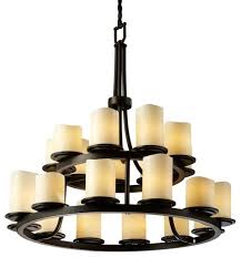 justice design dakota 21 light 2 tier ring led chandelier dark bronze