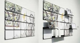 can t decide whether to put up a mural or a shelf up on a wall a mural can give the room so much character but a shelf will prove especially useful for  on wall art shelf with fold out mural cleverly combines wall art with functional shelves
