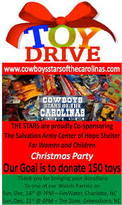 cowboys stars of the carolinas fan club llc christmas toy drive the cowboys stars of the carolinas is proud to co sponsor the salvation army center of hope shelter for women and children christmas party on 23rd