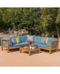 Wood outdoor sectional Teak Outdoor Noble House Brava Teak Finish 4piece Wood Outdoor Sectional Set With Blue Cushions Better Homes And Gardens Shopping Special Noble House Brava Teak Finish 4piece Wood Outdoor