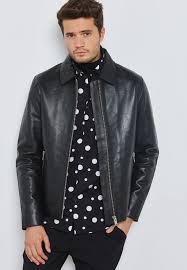 selectedhomme black clean leather jacket 16064729 for men in saudi se636at23sky