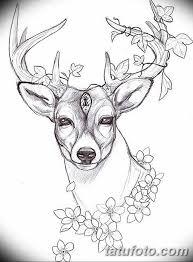 эскиз тату олень 23022019 110 Sketch Tattoo Deer Tatufotocom