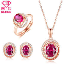 2019 gehoo red stones jewelry set ruby paved cz pendant unique design 925 sterling silver women charm necklace stud earrings ring from taihangshan