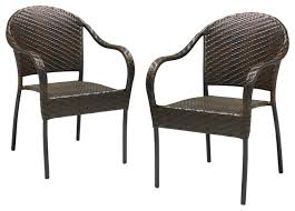 outdoor dining chairs stackable. rancho outdoor brown/gray wicker stackable chairs, set of 2 brown transitional-outdoor dining chairs