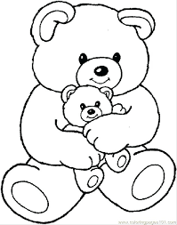 Teddy Bear With Heart Coloring Pages With Drawn Teddy Bear Heart