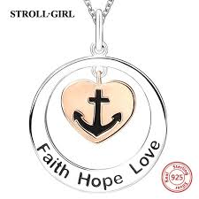 2019 2018 100 sterling silver 925 faith hope love chain pendant necklace with love heart diy fashion jewelry making for women gifts from fashionwatch06