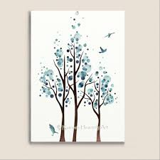 Small Picture Blue Home Decor Watercolor Tree Print Flying Birds 5 x 7 Nature