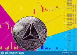 Tron Crypto Chart Coin Cryptocurrency Trx On Chart And Yellow Blue Neon