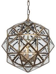 calypso glass lantern chandelier antique brass