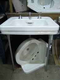 kohler pedestal sink with metal legs small console bathroom vintage wood double uk home design sinks