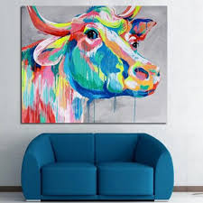 handpainted palette cow paintings on canvas handmade abstract animal oil painting home decor wall art pictures