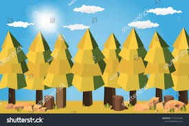 Sunrise Landscape And Design Pine Forest Summer Concept Sunny Day Stock Vector Royalty