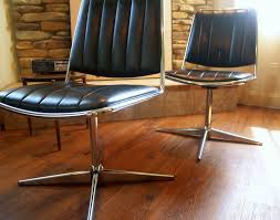 1967 vintage mcm black is the new black chromcraft chair mod mid century modern furniture chrome metal faux leather propeller swivel base