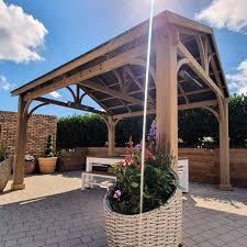 large cedar wooden gazebo 420cm x 360cm