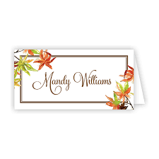 Fall Place Cards Autumn Leaves Place Card