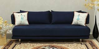 jasper three seater sofa bed in navy blue colour by indoors
