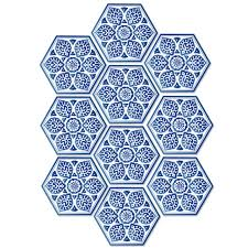 blue and white porcelain style floor