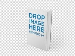 mockup template of a paperback book standing over a flat background