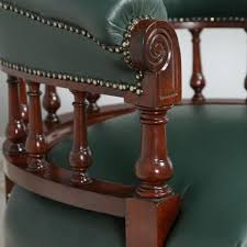 victorian office chair. antique victorian mahogany green leather office desk chair circa 1890
