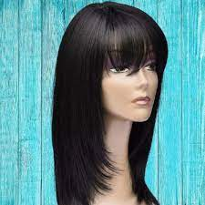 straight wig with bangs