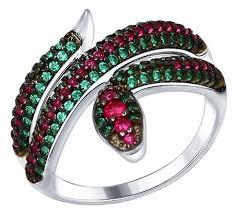 SOKOLOV <b>Кольцо</b> «<b>Змея</b>» с <b>фианитами</b> 94012579 — купить по ...