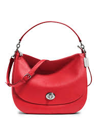 Lyst - Coach Pebbled Leather Turnlock Hobo Bag in Red
