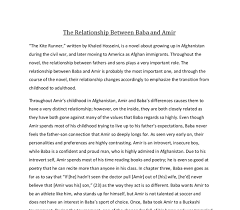 the relationship between baba and amir in the kite runner written  document image preview