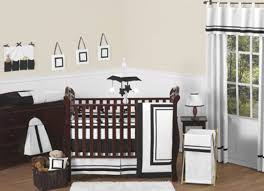 image of black and white modern baby bedding
