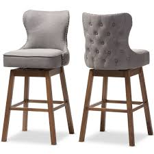 upholstered swivel bar stools. Baxton Studio Gradisca Modern And Contemporary Brown Wood Finishing Grey Fabric Button-Tufted Upholstered Swivel Barstool Bar Stools |
