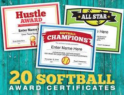 Designer Softball Team Award Certificates Sports Feel Good