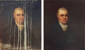 cleaned and water damaged artwork moisture under varnish bloom drips on oil painting portait of