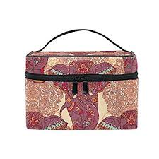 alirea indian elephants and paisle cosmetic bag travel makeup train cases storage organizer high quality