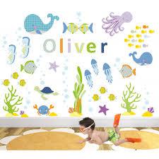 ocean nursery wall art stickers on childrens wall art uk with under the sea nursery wall art stickers