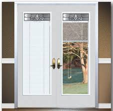 image of french exterior door with blinds between glass