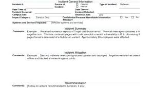 Sample Incident Report Template Network Security Audit