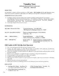 Cnc Machinist Resume Operator Resume Fresh Machine Operator Resume