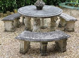 reconstituted stone round garden table and bench set
