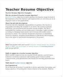 objective for teaching resume objective for teaching resume resume objectives for teachers