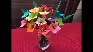 Paper Origami Flower Bouquet How To Make Paper Flower Bouquet Origami Mothers Day Gift Youtube