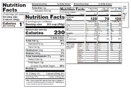 standard vertical nutrition facts label exles in new format