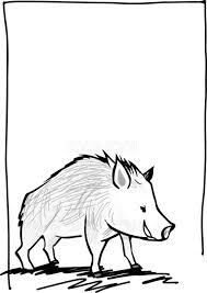 白黒おしゃれ手書きスケッチ風横向きイノシシの亥年の年賀状フレーム枠