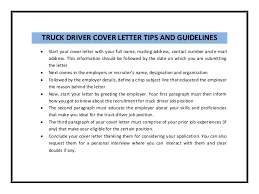 Truck Driver Cover Letter Samples Truck Driver Cover Letter Template Truck Driver Cover Letter