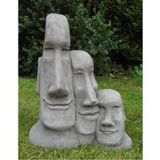 trio easter island head statue