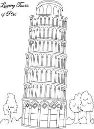 Small Picture Collection of Landmarks Around The World Coloring Pages Leaning