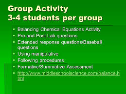 26 group activity 3 4 students per group balancing chemical equations activity pre and post lab questions extended response questions baseball
