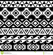 Kakau Designs And Meanings Aztec Black And White Tribal Pattern Stock Vector