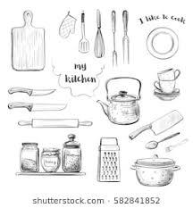 Sketch Kitchen Utensils Images Stock Photos Vectors Shutterstock