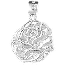 10k 14k or 18k gold rose flower pendant