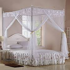 White Four Corner Square Princess Bed Canopy (TWIN)