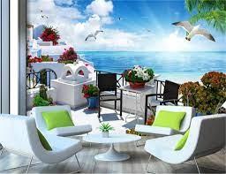 3d Wallpaper Living Room Greece Aegean ...